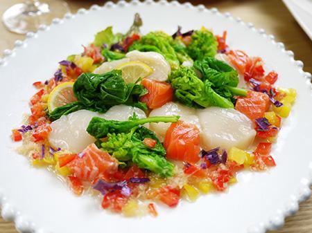 薬膳料理レシピ:ほたての生姜ドレッシングサラダ